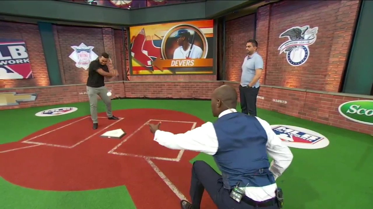 .@RedSox phenom Rafael Devers stopped by #Studio42 to take some swings with Harold Reynolds! https://t.co/UZ3v76PsWF
