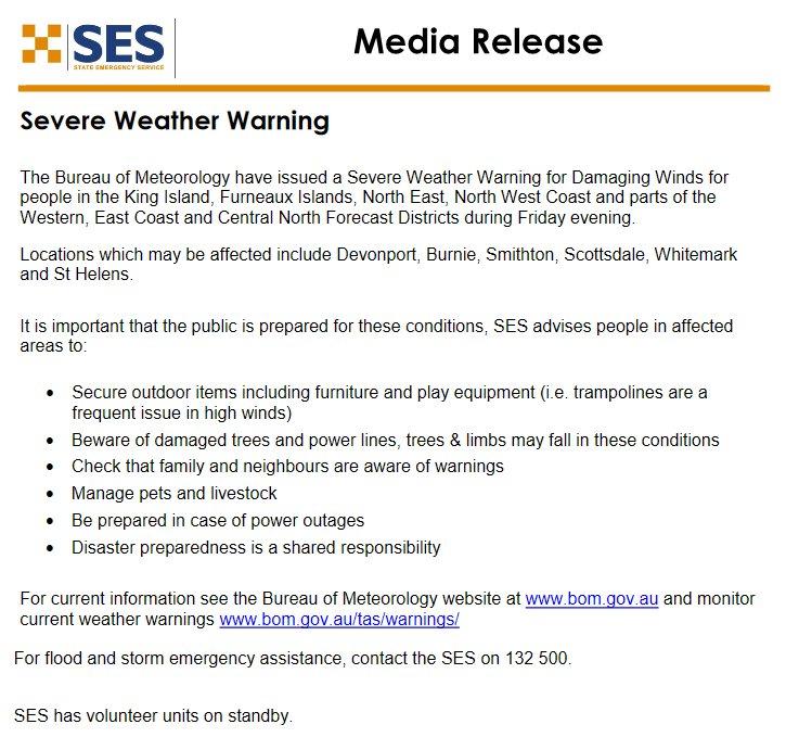 .@SESTasmania is urging northern #Tasmanians to...