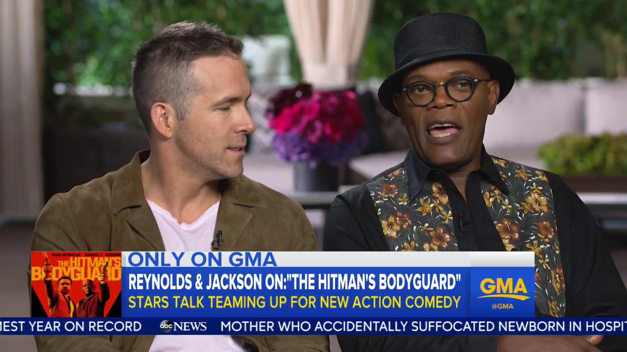 WATCH: @VancityReynolds and @SamuelLJackson talk @HitmanBodyguard with @JessePalmerABC. https://t.co/VjhjHoHhlA https://t.co/wQGoejn1bA
