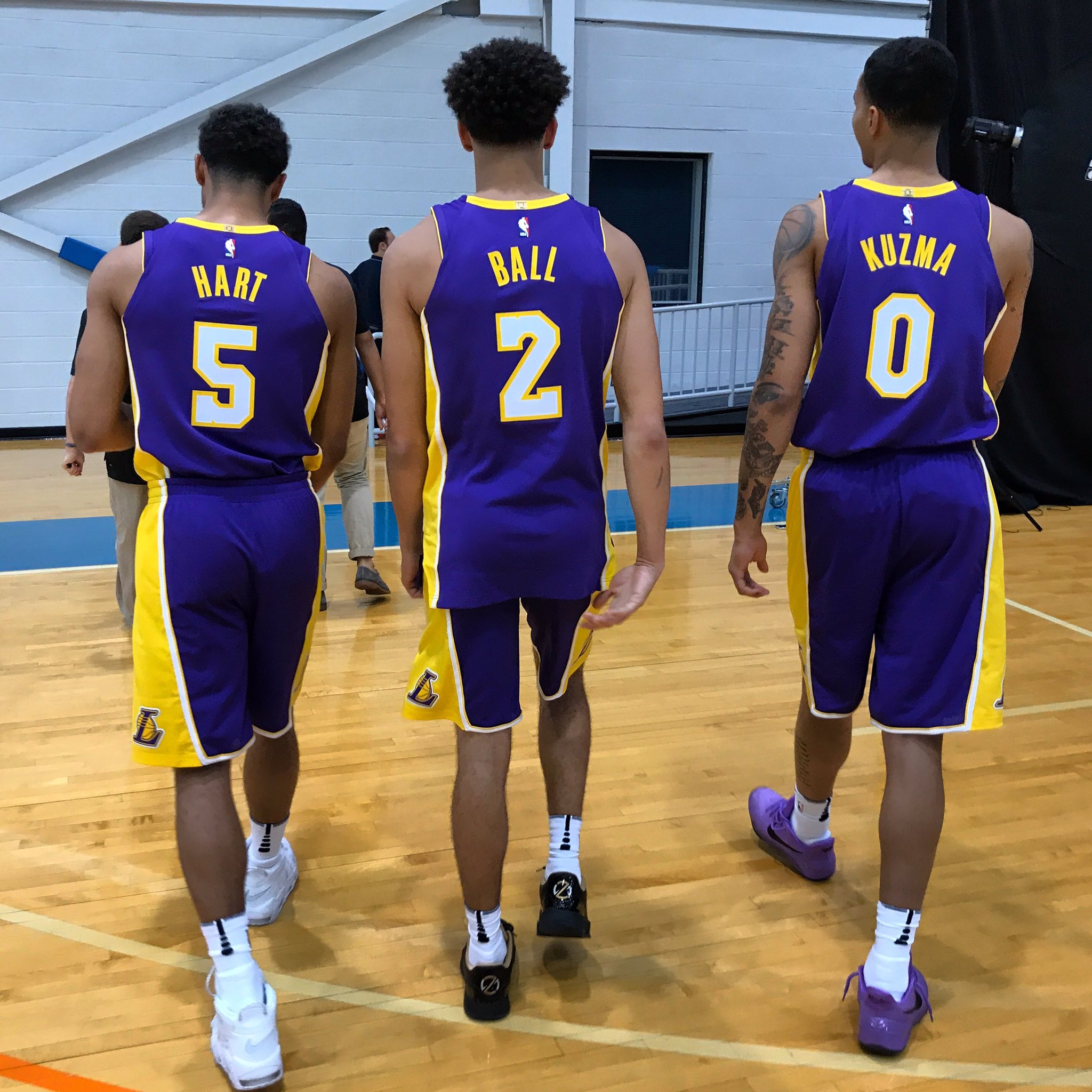 The @Lakers rooks on the move at the #PaniniNBARookie shoot. https://t.co/dvrHeQ0YU4