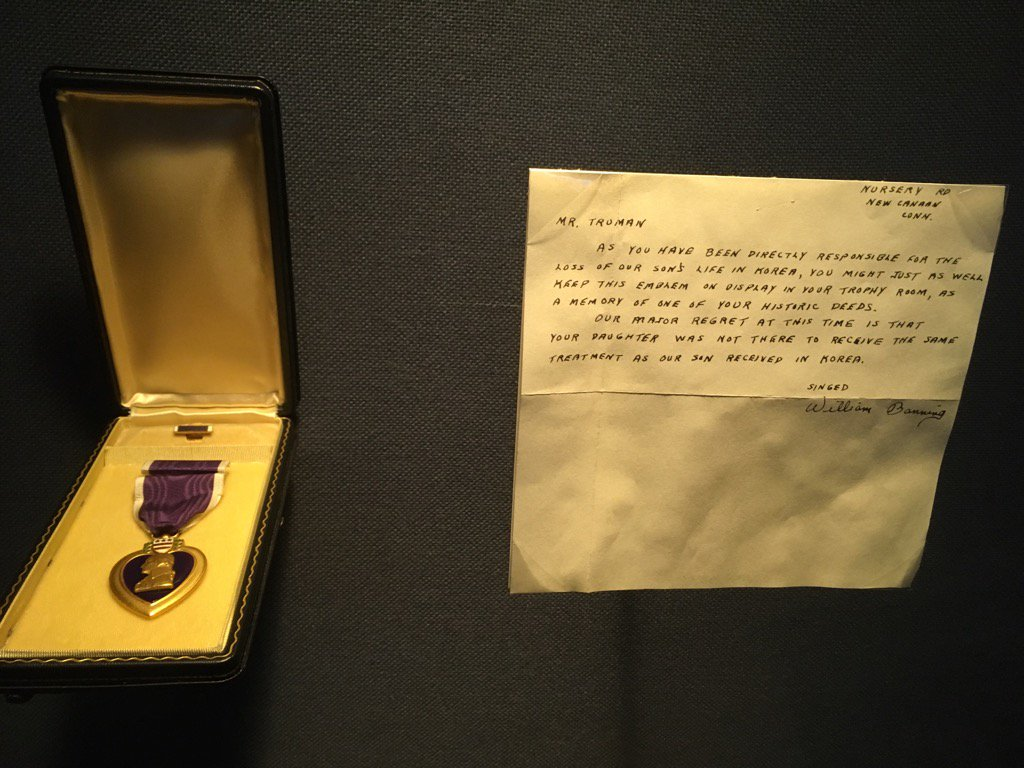 After Harry Truman died in 1972, this Purple Heart was found in his desk drawer. Letter worth the read: (Photo/WWR) https://t.co/Hr3YGmyqRT