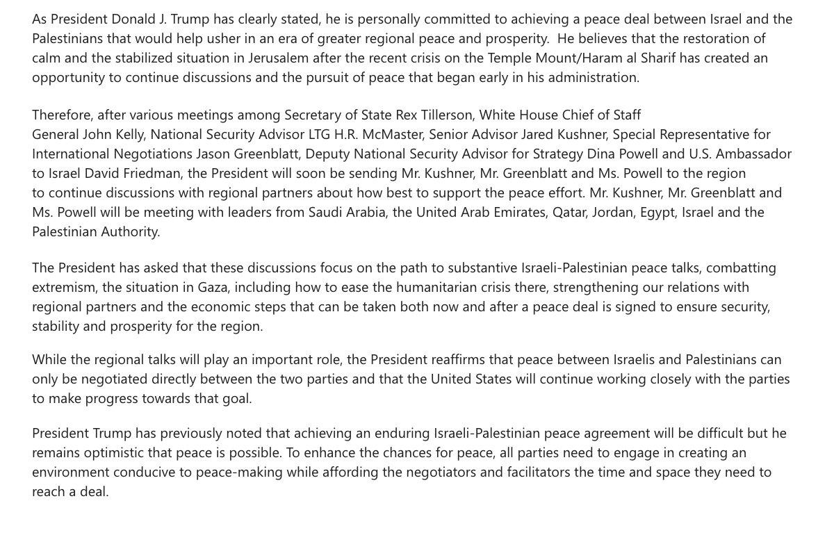 Snr. White House official: Kushner, Greenblatt, and Powell heading to the Middle East https://t.co/EOS6OG4AUc