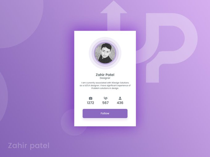 Uplabs profile card   UI kit by yesIam_zahir freebie