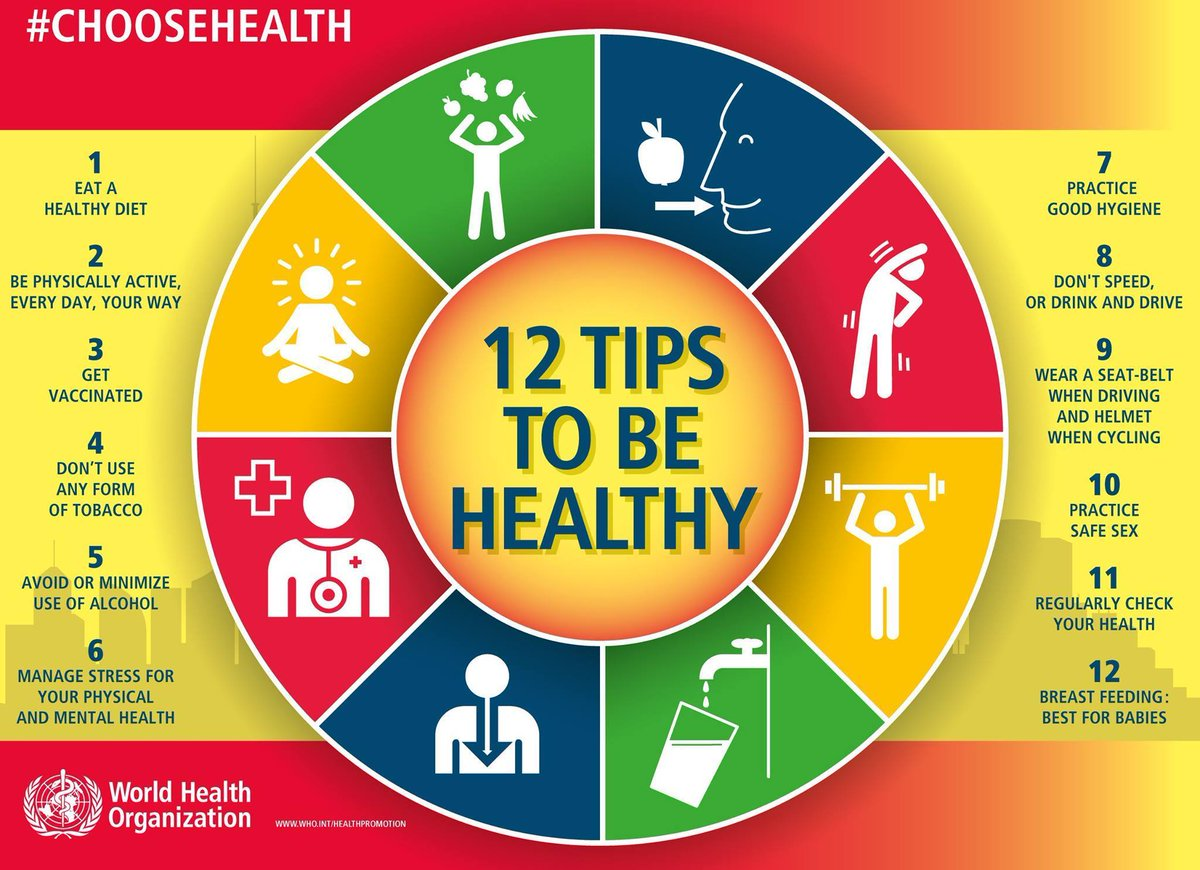 RT @WHO: Here are 12 tips to be healthy. #ChooseHealth! https://t.co/zGQnvye8hx