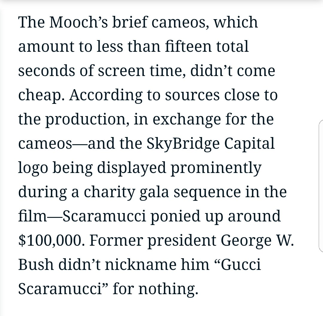 Scaramucci paid *a hundred grand* to be in 'Wall Street 2' for FIFTEEN SECONDS. https://t.co/hEEcTIR402 https://t.co/kb8P05uLoR