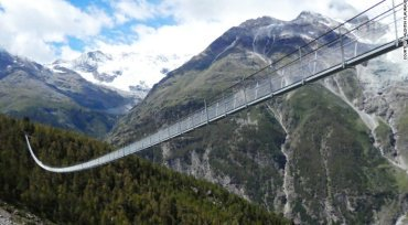 World's longest pedestrian suspension bridge opens in Switzerland