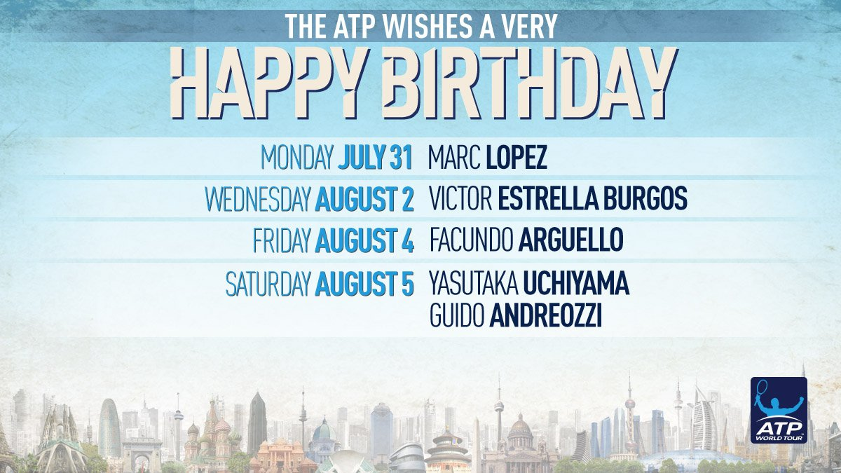 RT @ATPWorldTour: Happy birthday to all our #ATP ��s celebrating this week! �� https://t.co/sqZGVfpcGj https://t.co/oSIMval4rb