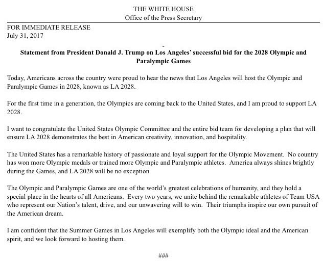 .@POTUS Statement on Los Angeles' successful bid for the 2028 Olympic and Paralympic Games https://t.co/4zoVlShoxx
