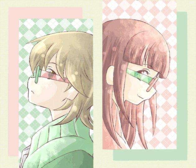 有頂天家族のコラボメガネでも出ないかなーって思って矢三郎と海星を描いたら、コラボメガネっていうよりただのペアルックになっ