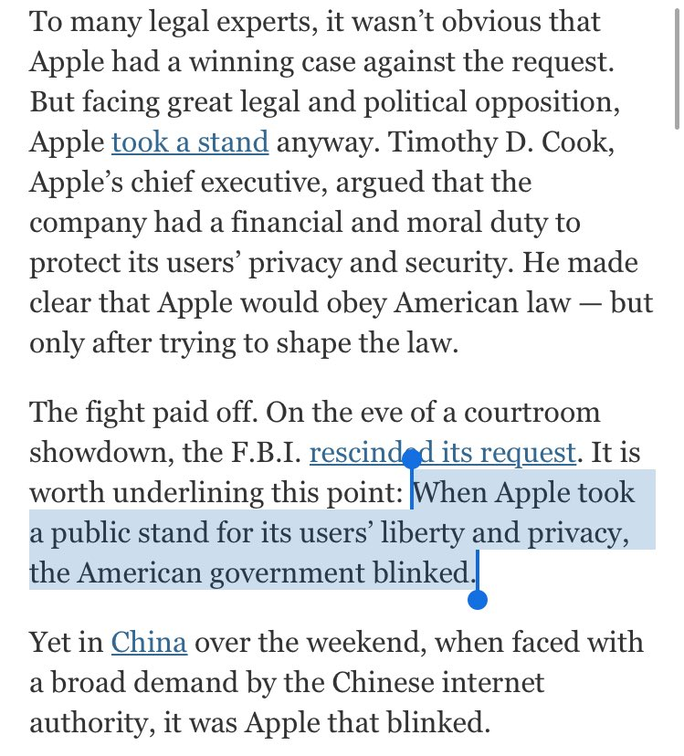 In China, Apple blinked on freedom and privacy. My @nytimes column https://t.co/fTYD9iRJAp https://t.co/Z217pEU6M1