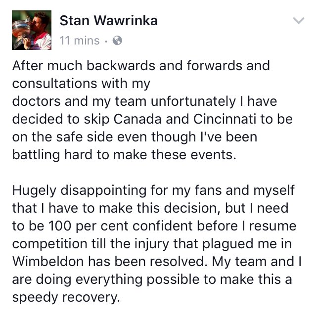 Stan Wawrinka's ongoing knee problems mean he'll miss the Montreal Rogers Cup and Cincinnati. Here's why ⬇️ https://t.co/MRrczmBVjh