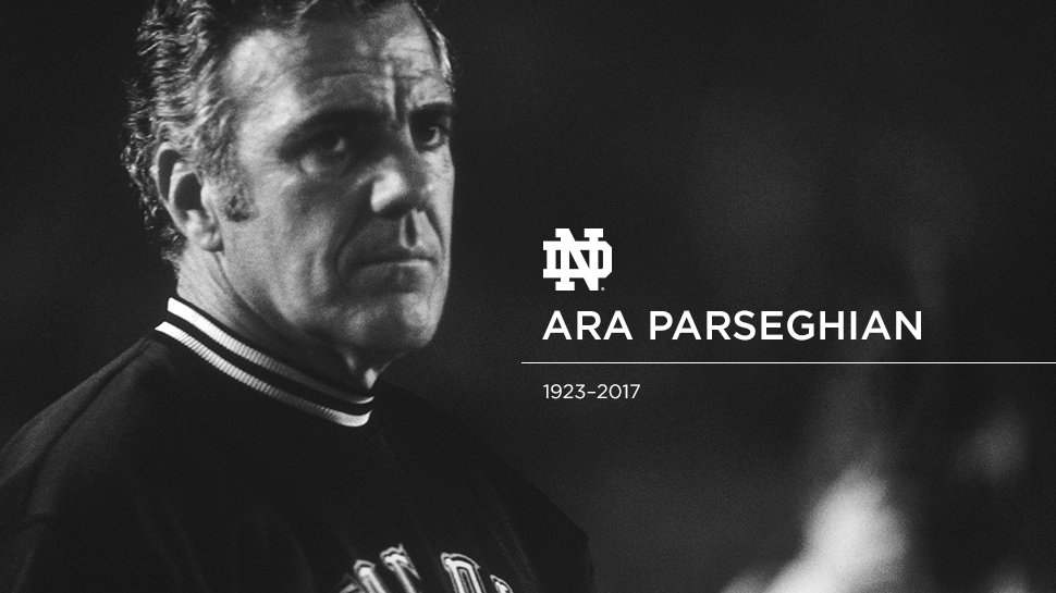 Our entire program mourns the loss of one of the pillars of our University, Coach Ara Parseghian. https://t.co/nXS3xyei05
