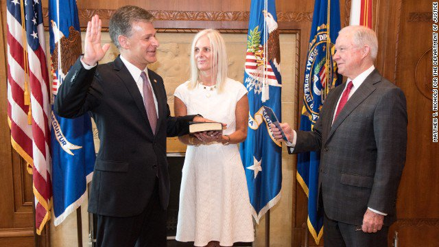 Attorney General Jeff Sessions swears in Chris Wray as the new Director of the FBI