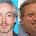 Massive manhunt for Oxford college treasurer, 56, and his colleague accused of murdering hair stylist, 26, found stabbed to death in US flat