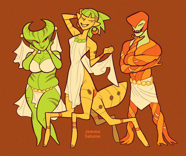 Character lineups from last few days. Alien dance troupe, suburban demons, magical superheroes, and a Minoan princess. https://t.co/PfU0zxm3Kw