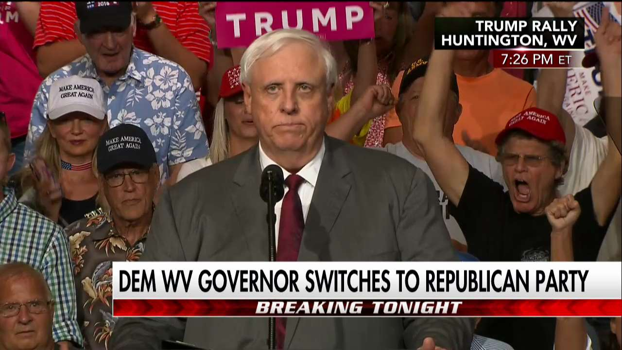 .@WVGovernor at @POTUS rally: 'Tomorrow I will be changing my registration to Republican.'  https://t.co/BfVjazapDK https://t.co/I5otDXrAVG