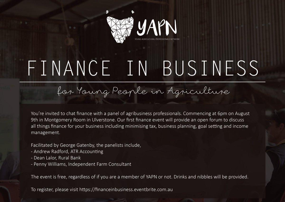 Don't forget! YAPN's first finance event is...