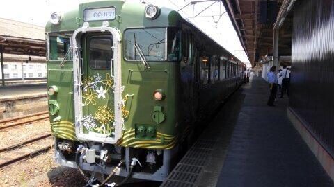 明日、山陰線を走る新たな観光列車「〇〇のはなし」の運行がスタートするよ☆彡萩市(は)、長門市(な)、下関市(し)の美しい
