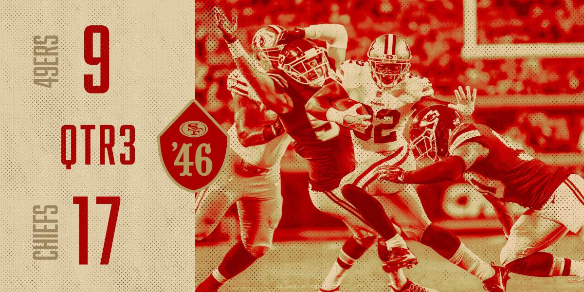 One quarter remains in #SFvsKC. Live updates: https://t.co/lYtxB6nTbD https://t.co/EQYejFD5Cu