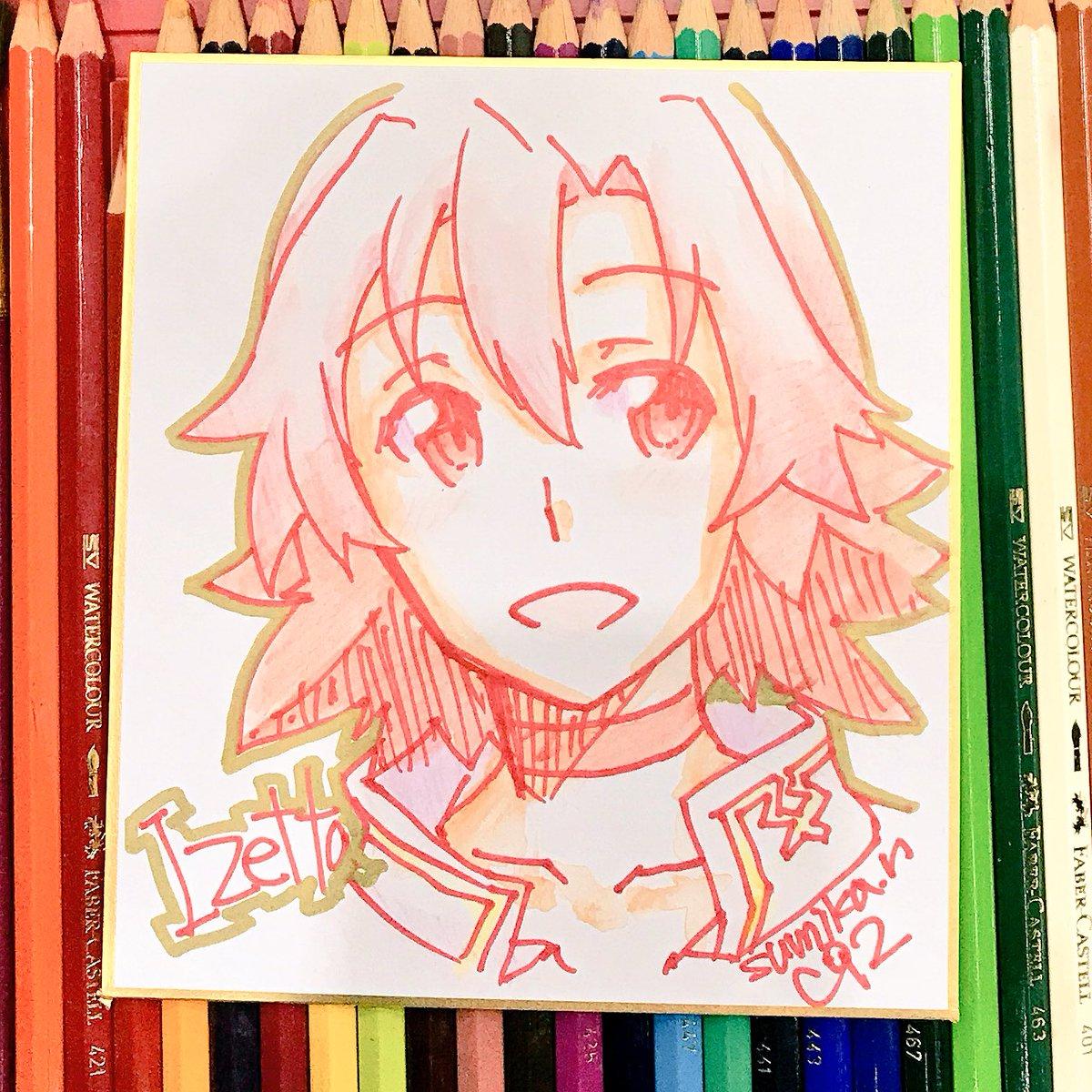 もう1回イゼッタさん色紙描きました。最初のより歳上。