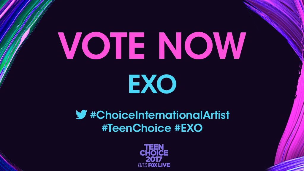 Turn up, #EXO fans! Click that RETWEET button now to vote. #ChoiceInternationalArtist #TeenChoice https://t.co/lm0rDqqEBz