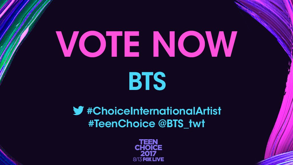 Show your support for @BTS_twt and RETWEET to vote for #ChoiceInternationalArtist. #TeenChoice https://t.co/SKLRW8fmA2
