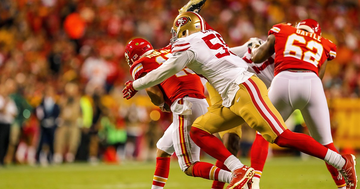 2 sacks for Aaron Lynch �� ����#SFvsKC https://t.co/ch9zE7dl7G