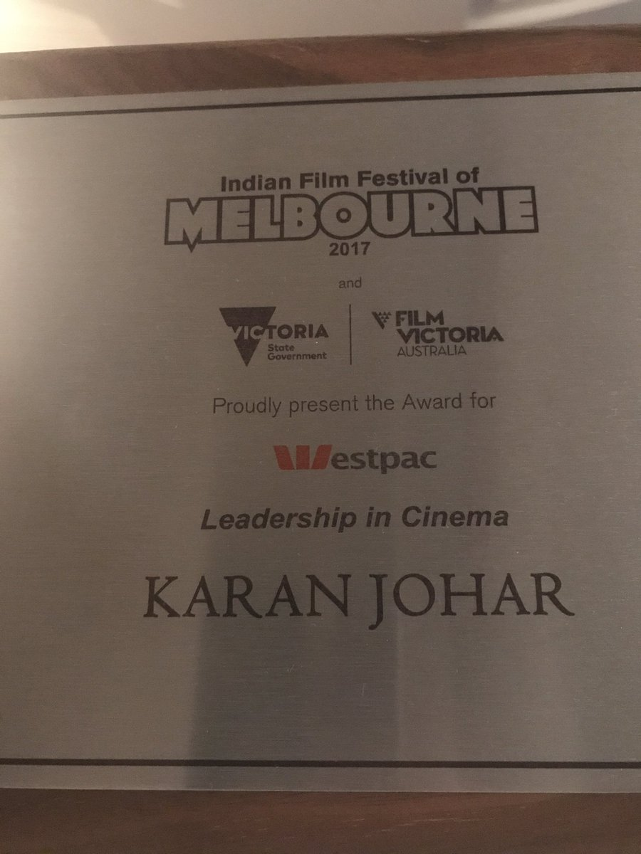 Thank you #IFFM2017 ...truly humbled by this....it's been a wonderful and warm time in Melbourne!