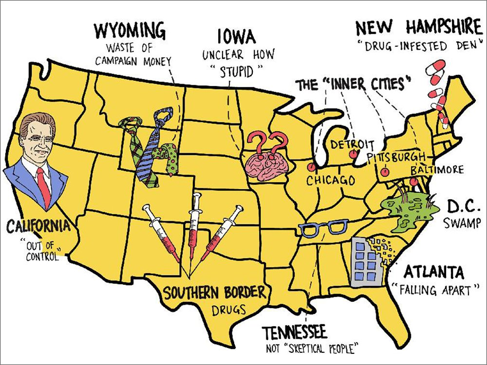A Donald Trump map of America: President has colourful words for places he likes, or hates