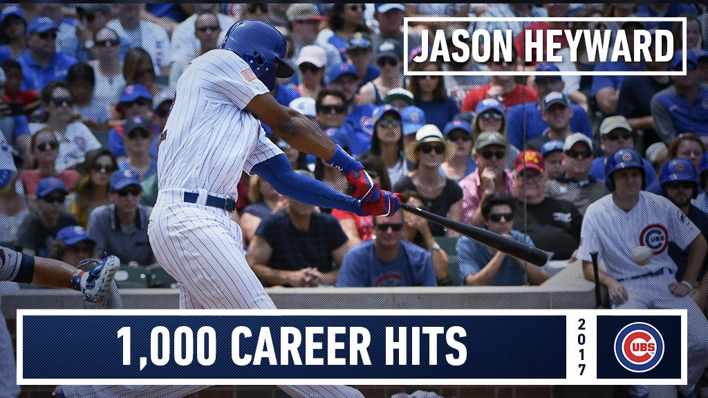 With his 3rd hit of the day, Jason Heyward now has 1,000 for his career!  Congrats, J-Hey! https://t.co/5x1u1hMfju