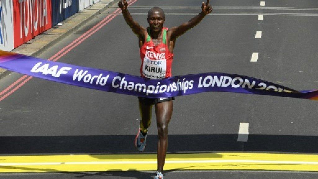 Kenya's Geoffrey Kirui wins men's world marathon