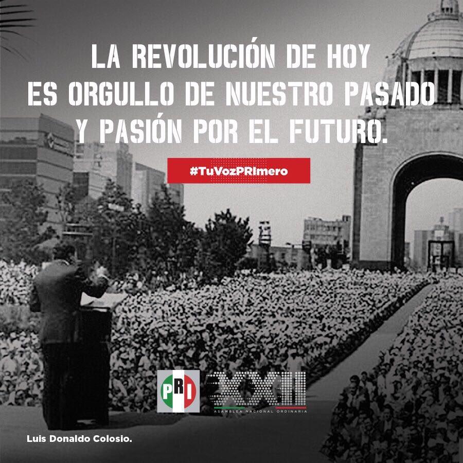 La revolución de hoy la hacemos cada una y cada uno de los #PRIistas.   #TuVozPRImero en la #XXIIAsambleaPRI https://t.co/sOPhiQU14D