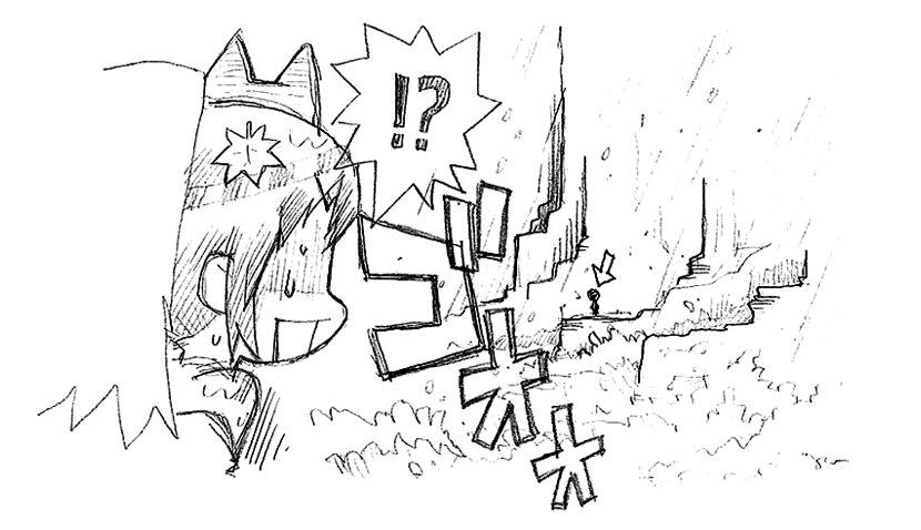劇アニメの絵コンテを描くときに用紙の余白に描いていたらくがきシーン:4End「豪雨②」主人公は意外と仔細ある無茶をします