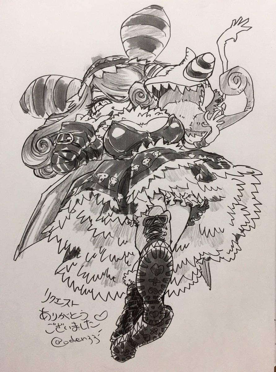 #オデンのリクエストボックス こんばんは〜〜本日のリクエスト!ミエーヌモンちゃん初描きわーい!!かわいいよね、あざといし