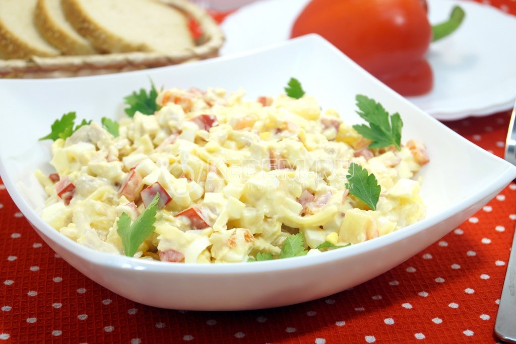 Простые салаты с ананасами рецепты