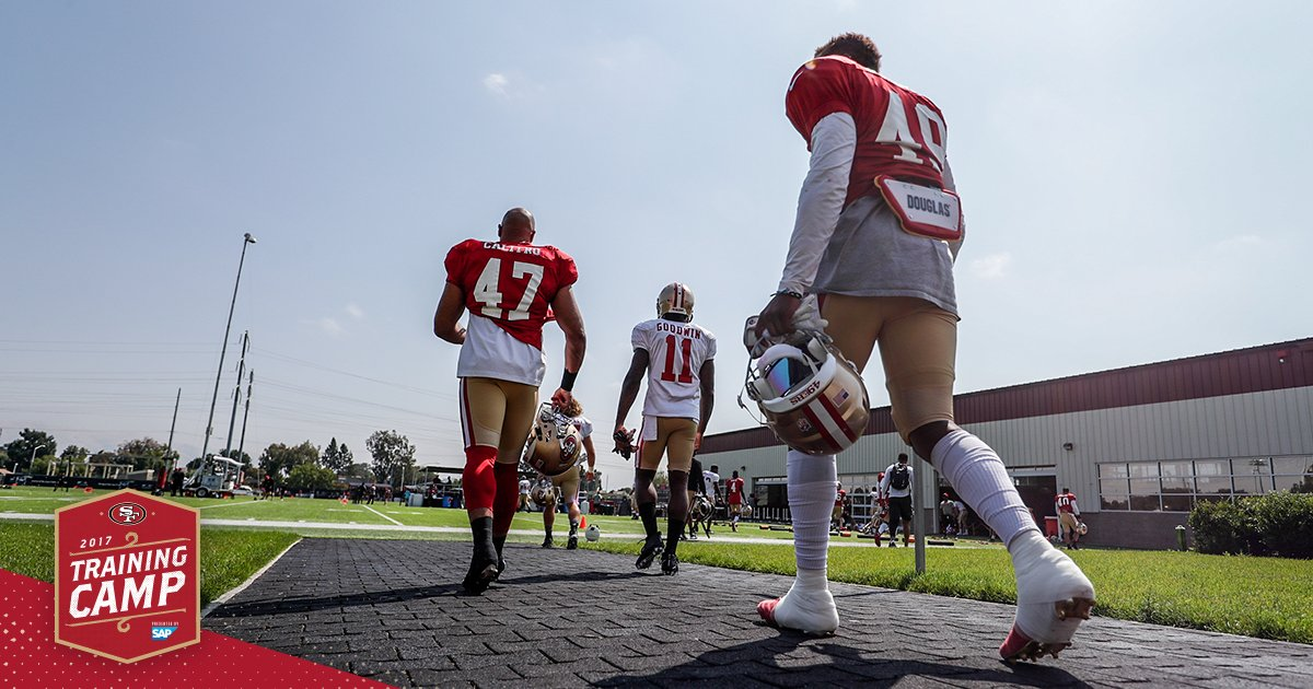 Back at it! Preseason Opener on Friday night ���� #49ersCamp https://t.co/yleycomMQx
