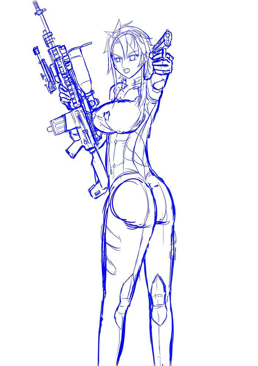 トリアージXの剣美姫とM4スナイパーライフル銃。#剣美姫 #トリアージX #M4