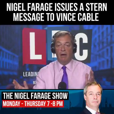 .@Nigel_Farage has issued a very stern response to @vincecable's latest Brexit intervention https://t.co/sjtO2Pn46H https://t.co/93KLAtFfA5