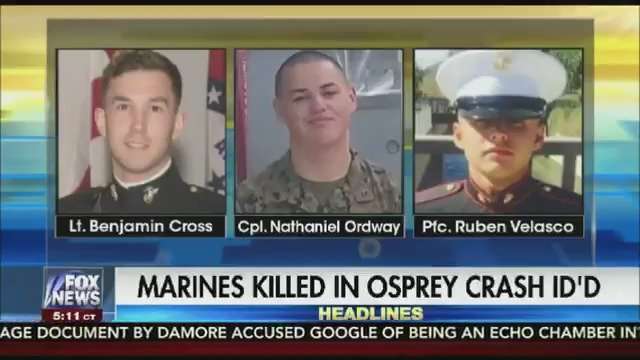 Officials identify the 3 Marines who died in the Osprey aircraft crash https://t.co/c3Cb3mZuH2