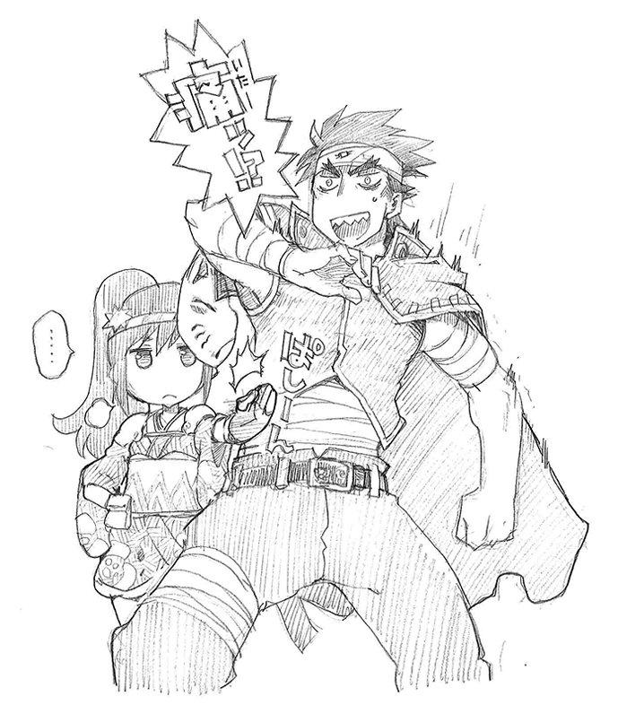 劇アニメの絵コンテを描くときに用紙の余白に描いていたらくがきシーン:ユウアム編「隊長になるのはこのパパを倒して・・・」ハ