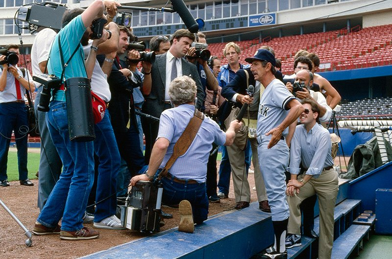 Yankees manager Billy Martin talks to reporters before an April 1985 game. https://t.co/nf6iFuoeIj