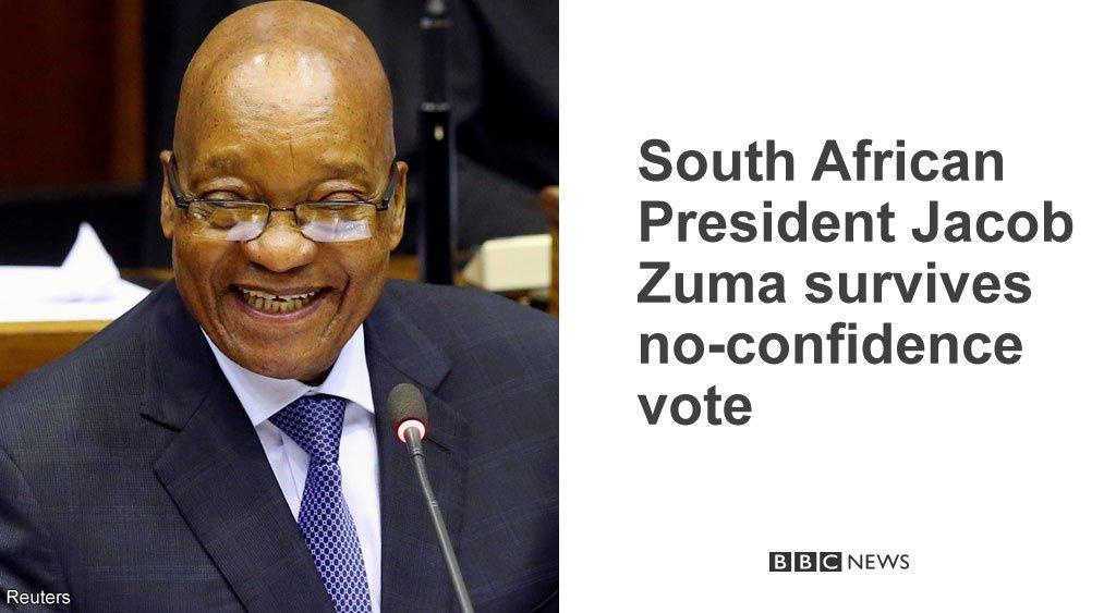 South African President Jacob Zuma survives secret ballot to oust him https://t.co/cz9TbHYbME https://t.co/3sWcocRA2p