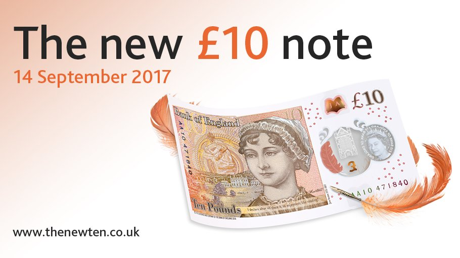 The #NewTenPoundNote featuring Jane Austen: coming 14 September 2017. https://t.co/8pBGT0YWoS https://t.co/ppCvva8yMG
