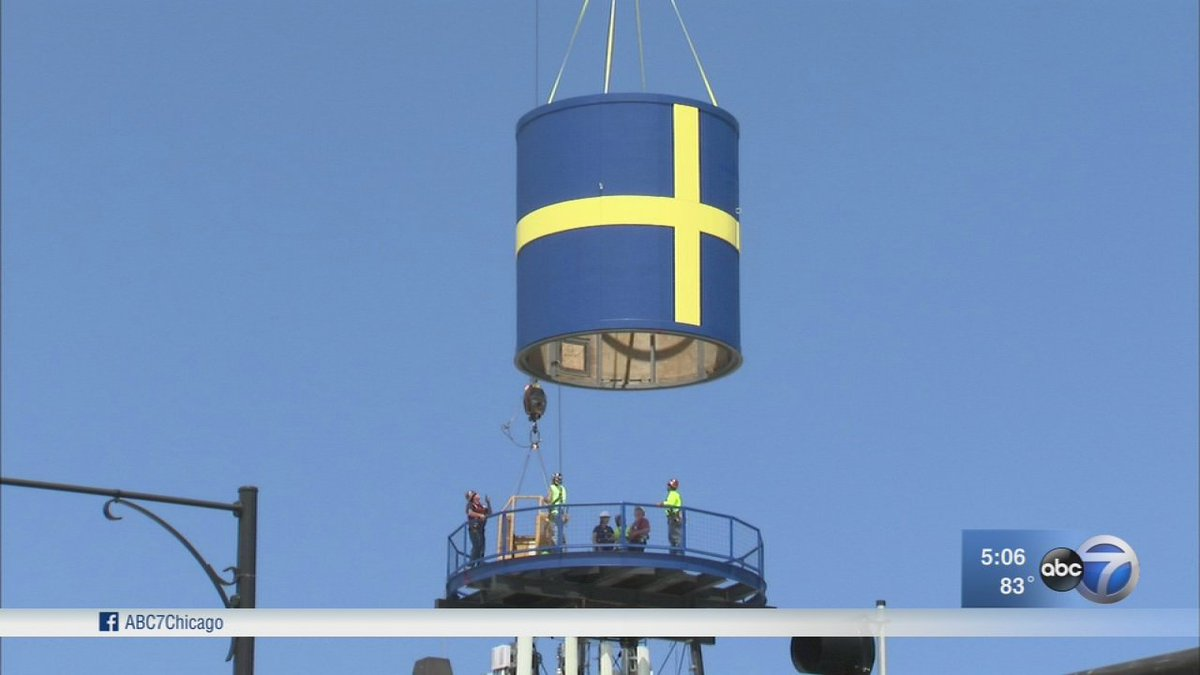 Swedish flag water tower returns to Andersonville