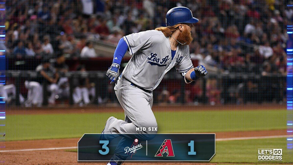 Mid 6:  #Dodgers 3, D-backs 1  �� https://t.co/wjXxDeRwYr