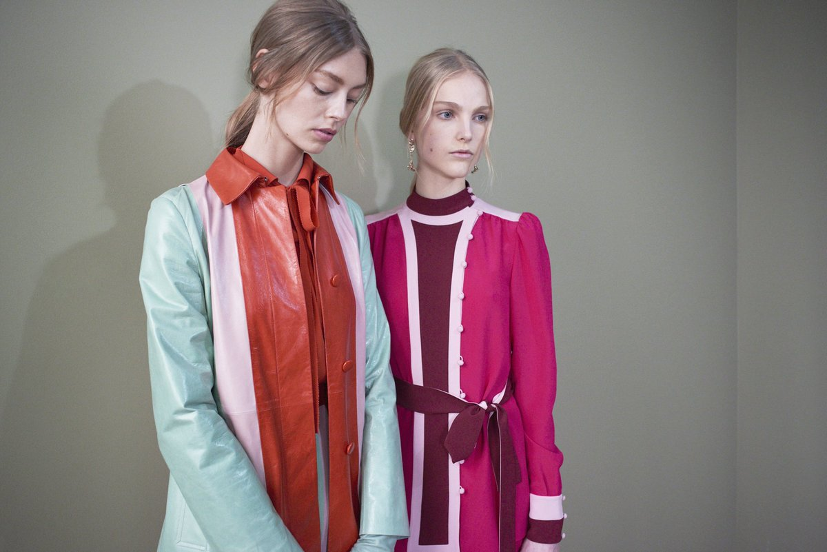 Tone up your wardrobe with a new color block light leather coat or with a pajama as seen in the #PreFall17 Show. https://t.co/xIZXwnQKMF