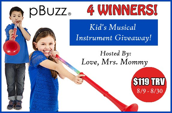pBuzz Kid's Musical Instrument Giveaway! 4 Winners! $119+ TRV
