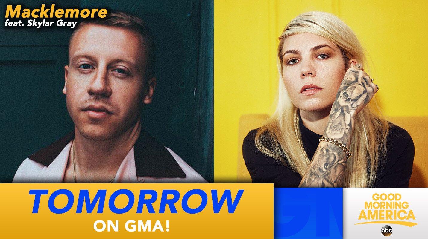 TOMORROW:@macklemore will perform in studio with @SkylarGrey LIVE on @GMA! https://t.co/b1CaZRyHLz