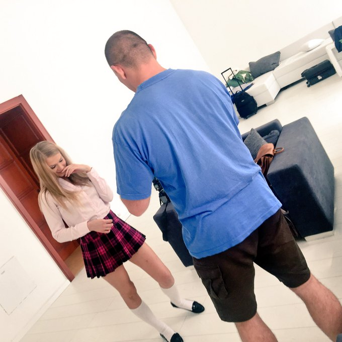 3 pic. Sweet @lucyheart_x is in the house today! #BackToSchool scene w/ @ERIK_EVERHARD & @DavidperryXxx