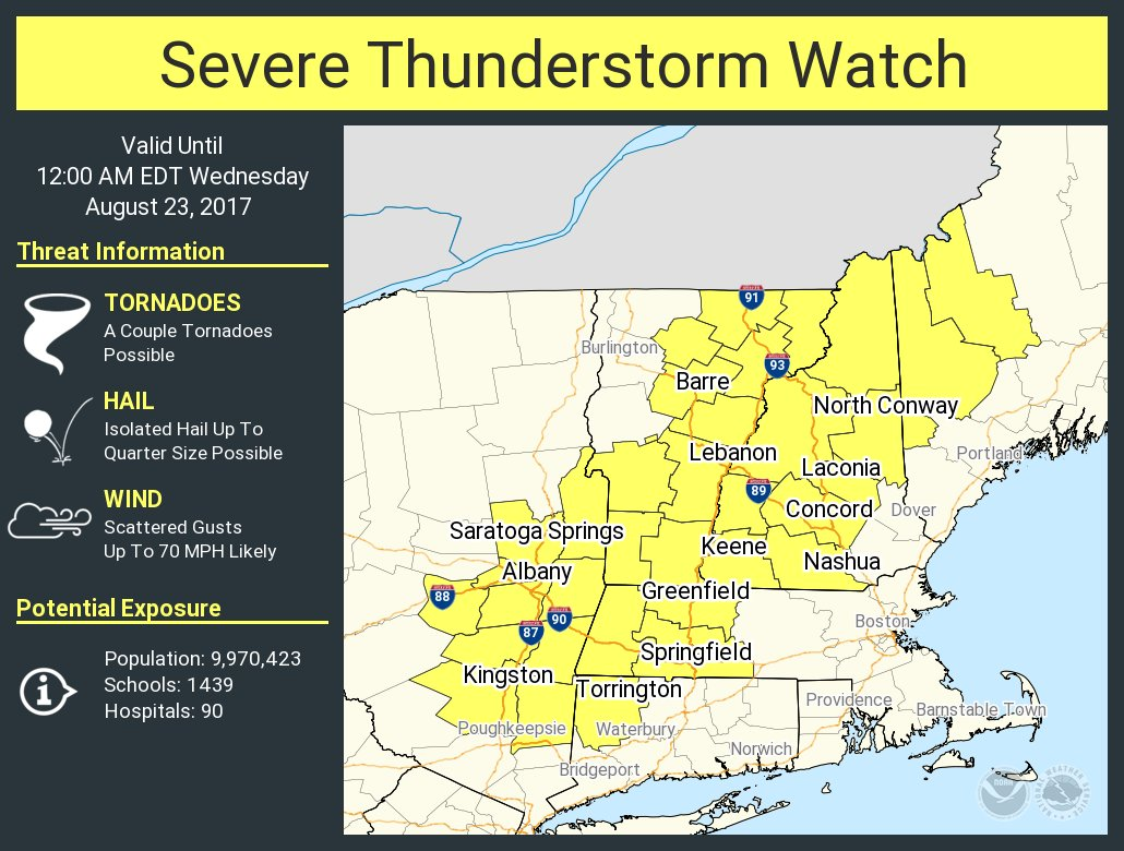 test Twitter Media - A severe thunderstorm watch has been issued for parts of CT, ME, MA, NH, NY, VT until 12 AM EDT https://t.co/Inj39xbBto